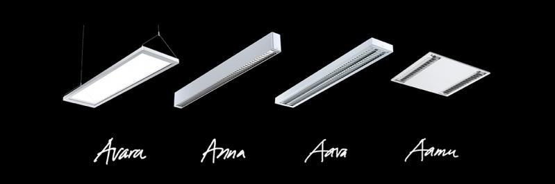 4A-valaisinperhe: Anna, Aava, Avara ja Aamu.